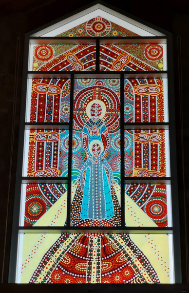 Stained glass window by Kathleen Kemarre Wallace in Alice Springs.